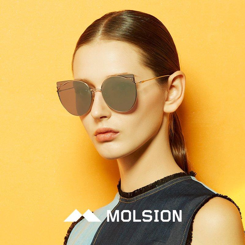 陌森眼镜angelababy同款18新款发售透色猫眼太阳镜墨镜ms8021-黄色-58