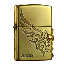 zippo打火机3面侧十字徽章-金色防风煤油打火机