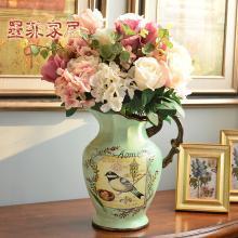 墨菲 歐式田園復古陶瓷大號花瓶美式鄉村插花器客廳家居裝飾擺件