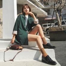 七格格复古上衣2019春装新款韩版时尚宽松休闲条纹小西装外套女冬