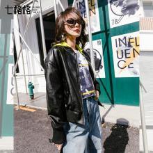 七格格机车皮衣女冬季2019新款春季韩版黑色宽松小外套皮夹克上衣