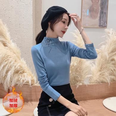 億族 秋冬新款韓版修身長袖針織衫上衣時尚刺繡立領打底衫女
