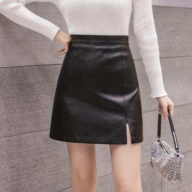 綺娑 黑色小皮裙秋冬新款時尚PU皮半身裙顯瘦高腰A字短裙女