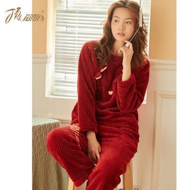 頂瓜瓜睡衣女秋冬保暖家居服套裝 可愛加厚圣誕紅法蘭絨居家服女