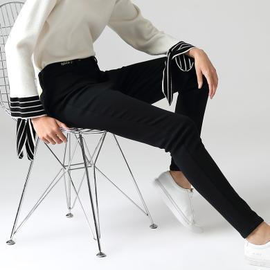 初语小脚休闲裤女2019冬季新款字母加绒黑色铅笔裤修身显瘦长裤8941902006