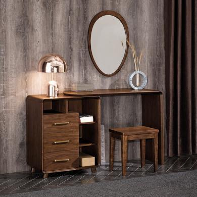 HJMM新中式梳妆台纯实木化妆桌胡桃木大小户型伸缩化妆台