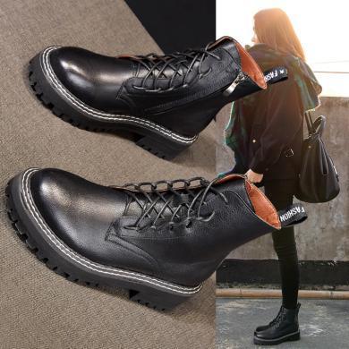 森馬馬丁靴女2019新款冬季百搭系帶平底短靴女英倫風高幫JM-993