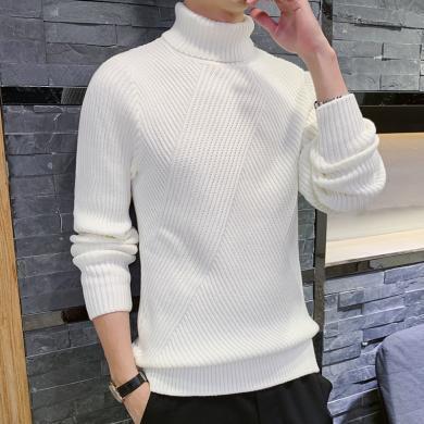 富贵鸟男装冬季新款高领针织衫打底毛衣百搭休闲M019