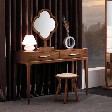 HJMM新中式梳妆台纯实木化妆桌胡桃木大小户型卧室化妆台