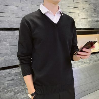 富貴鳥男裝冬季新款假兩件毛衣休閑針織衫M011