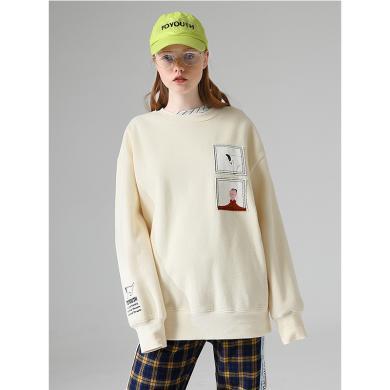 初語2019冬季新款趣味貼布刺繡寬松加絨圓領衛衣女套頭上衣潮ins 8940521006