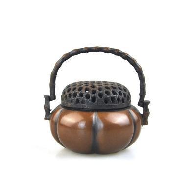 AlfunBel艾芳貝兒香道-黃銅仿古宣德銅爐小香爐 手工鏨刻檀香薰爐沉香爐 線香盤香多用香爐香具居家工藝品-小號帶提南瓜爐X-9-13-1