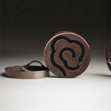 AlfunBel艾芳貝兒香道-古法雙耳銅香拓香印香模香篆 香道用具用品 打拓香模香灰押灰壓-祥云(直徑5.8CM)X-9-7-5-1