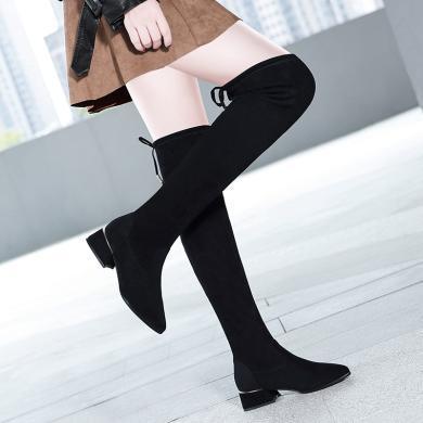 百年纪念   圆头粗跟女靴 时尚潮流时装靴防水台女鞋子bn1993