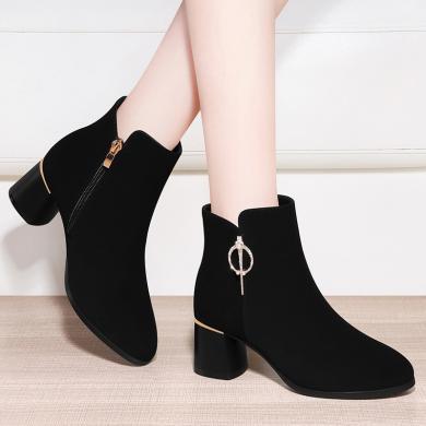 百年紀念   圓頭粗跟女短靴 側拉鏈時尚時裝靴 防水臺女鞋子bn2083