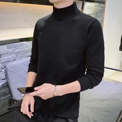 富貴鳥男裝冬季新款加絨高領針織衫打底毛衣百搭休閑M810JR