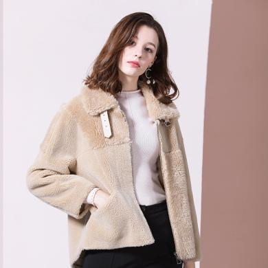 法米姿 女装外套2019新款冬季个性时尚 颗粒绒短款皮毛一体羊羔毛外套女   69332