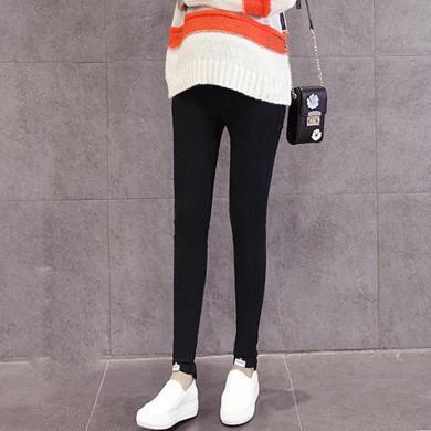 妃孕寶 孕婦褲冬季新款修身彈力小腳褲高腰托腹褲時尚簡約加厚打底褲女