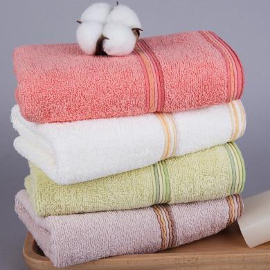 三利  純棉緞邊洗臉面巾 漸變條毛巾 成人洗臉巾