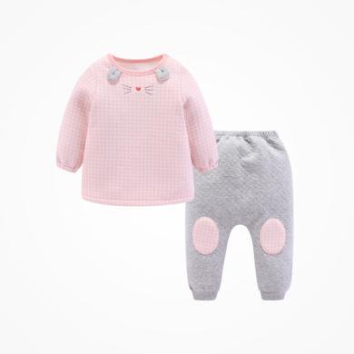丑丑嬰幼女童夾棉保暖套裝女寶寶套頭秋冬外出服