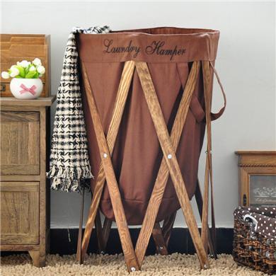 ALfunBel艾芳貝兒 美式布藝簍折疊簍臟衣籃洗衣籃收納籃木質臟衣簍E-54-1-1
