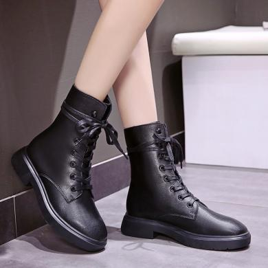 西瑞新款歐美中筒女靴圓頭系帶馬丁靴女靴YT329
