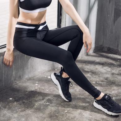 新款瑜伽褲女緊身立體感拼接健身長褲瑜伽服