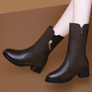 古奇天倫    秋季新款頭層牛皮短毛絨圓頭粗跟女靴短毛絨側拉鏈純色中筒靴GQ9717