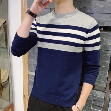 富貴鳥男裝2019秋冬新款男士毛衣休閑長袖體恤薄款針織衫男M040