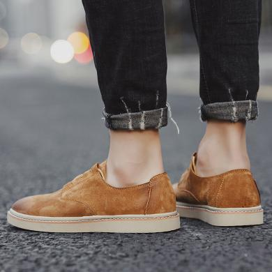 SIMIER2019秋冬新款男鞋平底休闲皮鞋户外工装皮鞋男士增高鞋