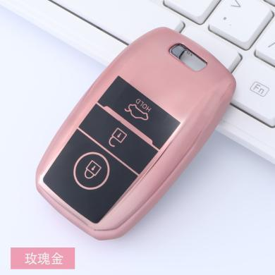 親藍 適用于起亞汽車鑰匙包tpu軟膠兩件套全包黑按鍵車鑰匙套