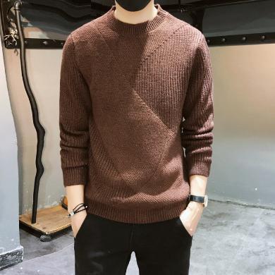 庫依娜2019新款毛衣針織衫男秋季新款毛衣冬季潮流內搭套頭男士線衣XNM108