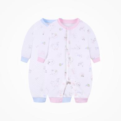 丑丑嬰幼 男女寶寶純棉前開哈衣四季新款嬰幼兒長袖卡通哈衣、爬服、連體衣