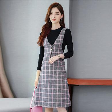 億族  秋季新款時尚裙子套裝修身毛衣+格子背帶連衣裙兩件套女