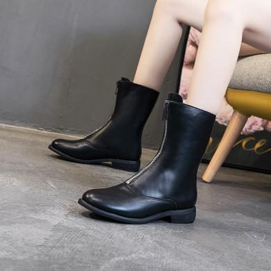 時尚復古ins馬丁靴女網紅前拉鏈短靴英倫粗跟女靴子潮LC-6031