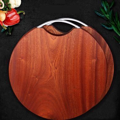 三更手作 烏檀整木無漆防霉實木菜板案板砧板圓形40厘米3厘米厚E-53-3-2