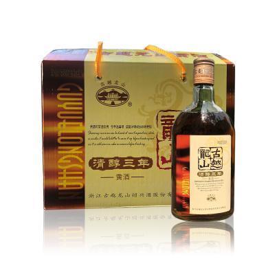 古越龍山紹興黃酒清醇三年500ml*12瓶整箱花雕酒糯米酒泡阿膠