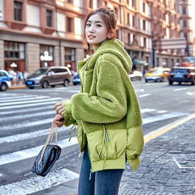 妙芙琳  2019冬?#20061;?#35013;新款韩版短款羽绒棉服女羊羔毛拼接刺绣网红学院风棉衣