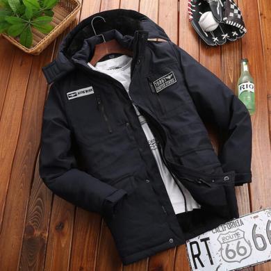 战地吉圃 冬季新款男士棉衣可脱卸帽运动休闲宽松大码中年棉服加厚外套