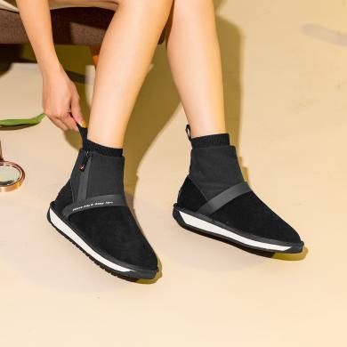 青婉田厚底雪地靴女2019新款時尚短筒防水棉鞋女冬加絨短靴女保暖V19DX1452
