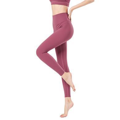 新款裸感瑜伽褲 女純色緊身彈力顯瘦提臀小腳褲 速干跑步健身褲