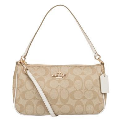 【支持購物卡】美國 COACH蔻馳 牛皮+PVC 手拎包 手提包 女士 單肩斜挎小方包 米色