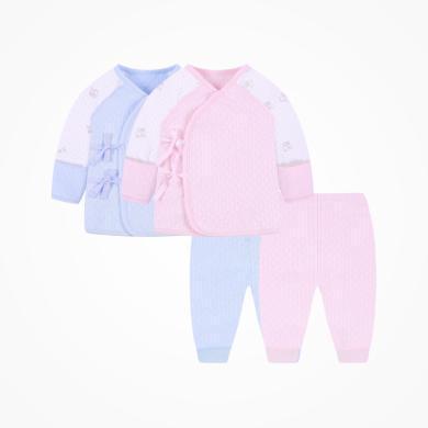 丑丑嬰幼秋冬男女寶寶綁帶套裝  男女童夾棉保暖套裝