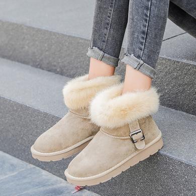 100KM猩猩猴 真皮雪地靴女短靴子短筒雪地棉鞋男女鞋秋冬季加绒学生面包鞋