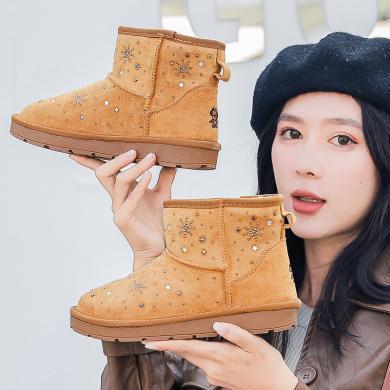 100KM猩猩猴 冬季防滑短靴女鞋亲子雪地靴加绒雪花百搭棉鞋女靴