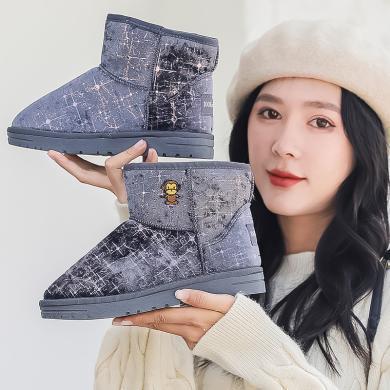 100KM猩猩猴 冬季爆款雪地靴女短筒學生百搭短靴子加絨加厚防滑棉鞋