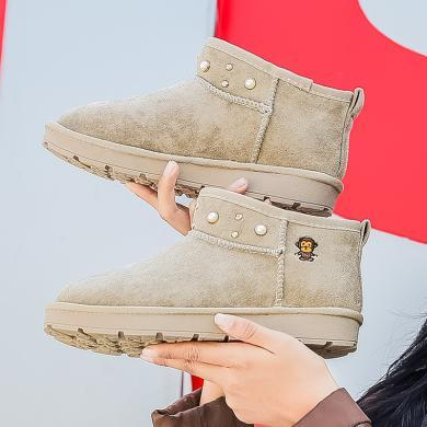 100KM猩猩猴 女靴冬季新款加绒防滑雪地靴百搭短靴子棉鞋