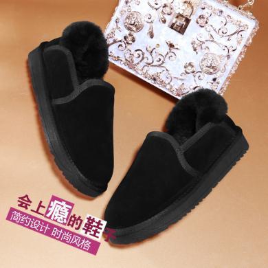 古奇天倫圓頭平底女靴純色短靴2019秋冬新款短筒靴雪地靴9686