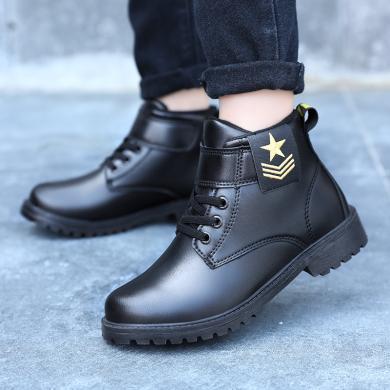 男童马丁靴新款儿童短靴英伦风中大童皮靴时尚迷彩秋冬靴子 TX-966