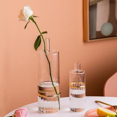 摩登主婦北歐透明玻璃花瓶擺件簡約客廳家居裝飾插花餐桌擺設家用